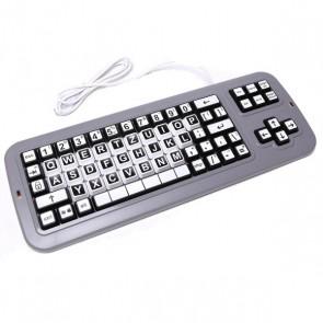 Clevy Tastatur QWERTZ Schwarz/Weiß Kontrast
