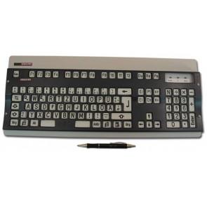 Gorlo & Todt Tastatur für Sehbehinderte (weiß, mit schwarzen Buchstaben, mit Abdeckplatte)
