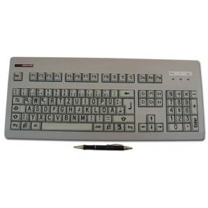 Gorlo & Todt Tastatur für Sehbehinderte (weiß, mit schwarzen Buchstaben, ohne Abdeckplatte)