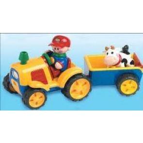 Traktor mit Kuhanhänger